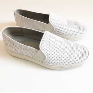 Vince Blair White Perforated Slip on Shoes